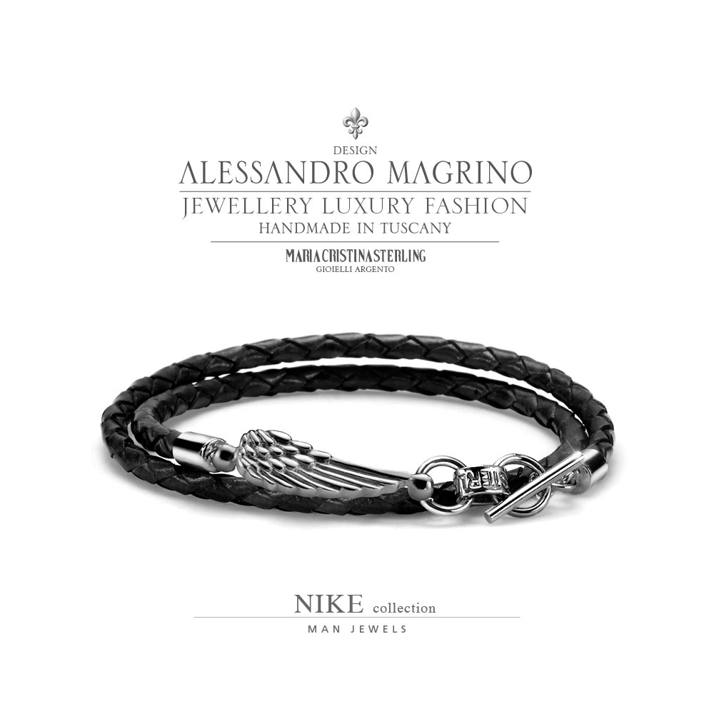 nuovo di zecca 51372 a468a MEN'S JEWELLERY BRACELET NIKE SILVER BLACK LEATHER MADE IN ITALY