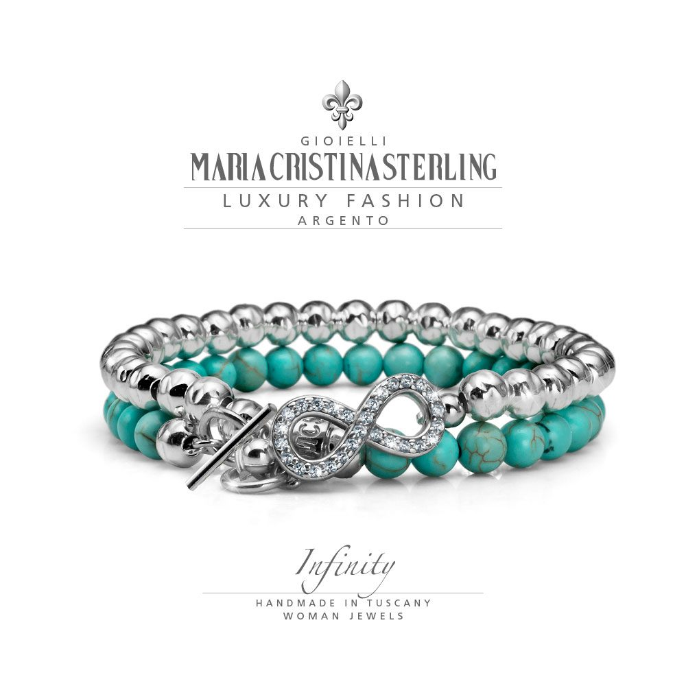 bracciale donna-argento crystal e aulite-due giri-infinity-maria cristina sterling