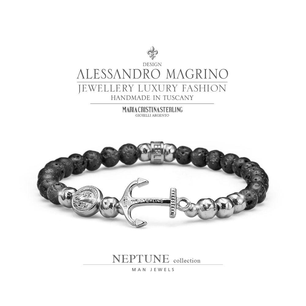 più recente 34aba 0de86 MEN'S JEWELLERY BRACELET NEPTUNE MY SAINT SILVER AND LAVA PEARLS MADE IN  ITALY