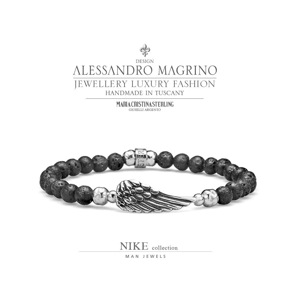design senza tempo 99d2c 34af7 MEN'S JEWELLERY BRACELET NIKE SILVER AND LAVA PEARLS MADE IN ITALY