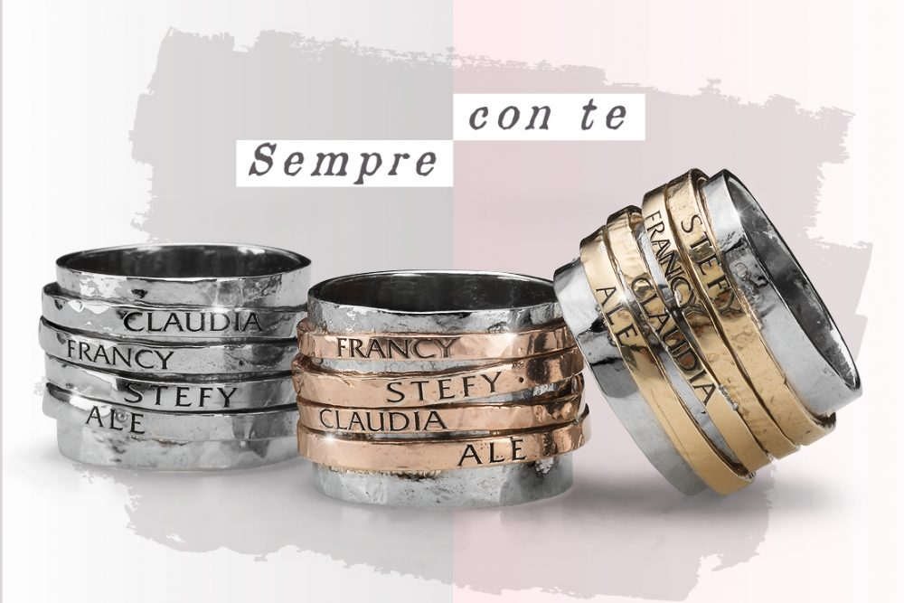 Circle anello personalizzabile Sterling