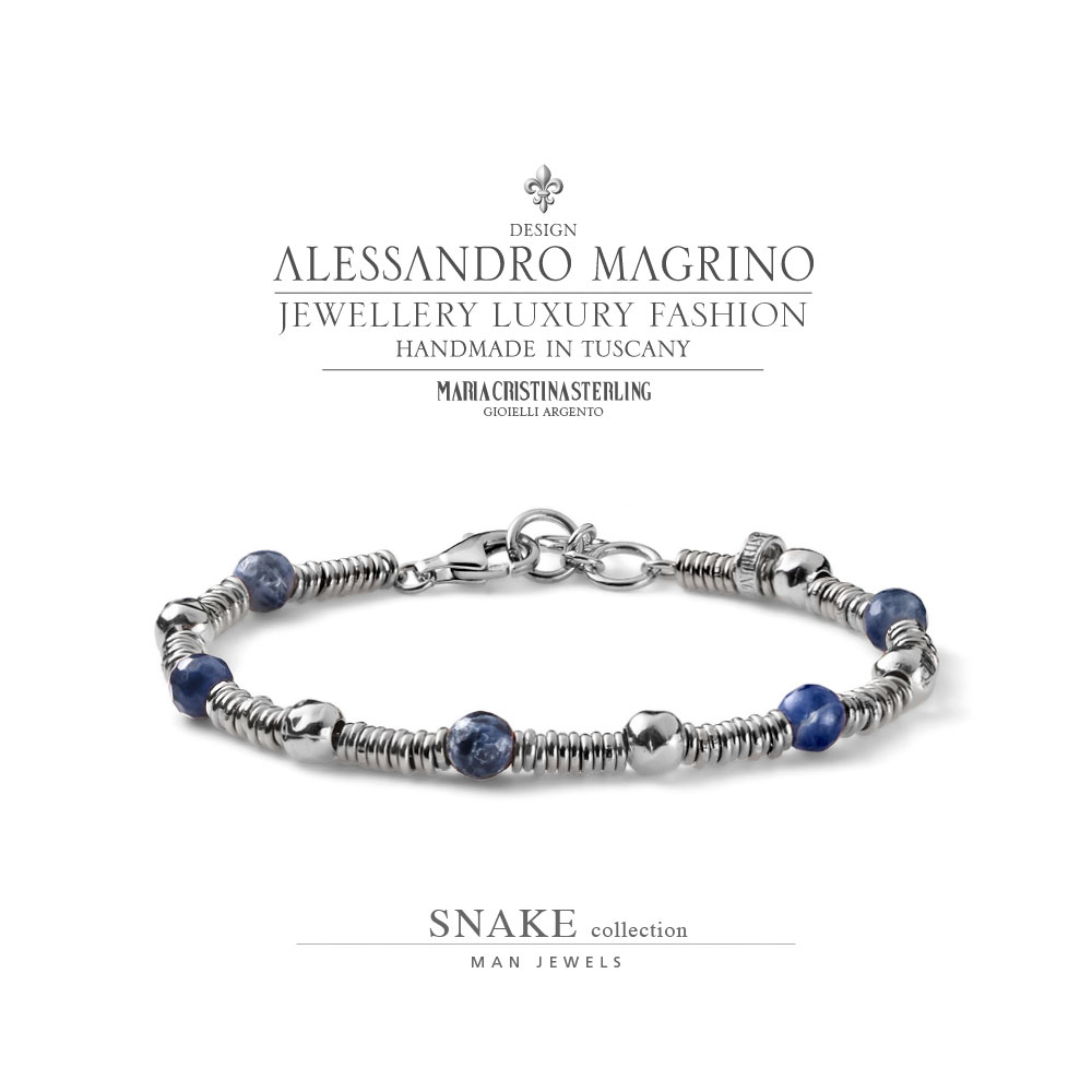 economico per lo sconto 65880 85c54 JEWELS MAN BRACELET SNAKE SILVER AND SODALITE MADE IN ITALY