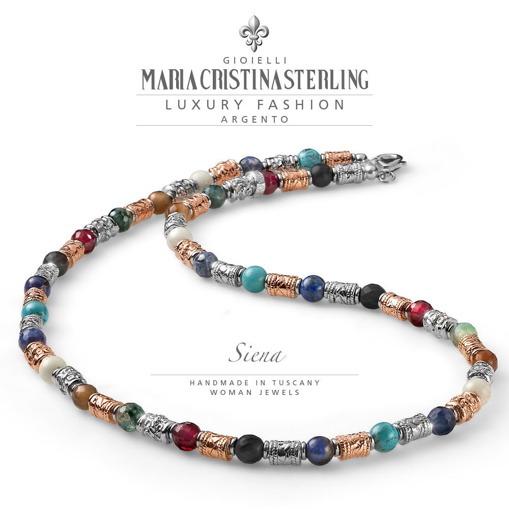 collana donna-argento 925 e pietre-luxury-siena-maria cristina sterling